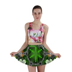 Green Flower In Kaleidoscope Mini Skirt