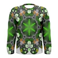 Green Flower In Kaleidoscope Men s Long Sleeve Tee