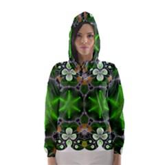 Green Flower In Kaleidoscope Hooded Wind Breaker (Women)