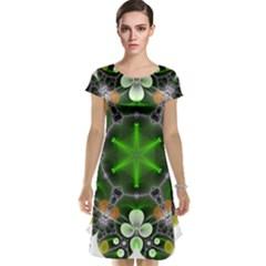 Green Flower In Kaleidoscope Cap Sleeve Nightdress