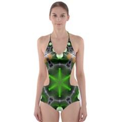 Green Flower In Kaleidoscope Cut Out One Piece Swimsuit