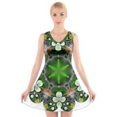 Green Flower In Kaleidoscope V Neck Sleeveless Skater Dress