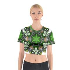 Green Flower In Kaleidoscope Cotton Crop Top