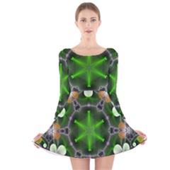 Green Flower In Kaleidoscope Long Sleeve Velvet Skater Dress