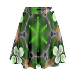 Green Flower In Kaleidoscope High Waist Skirt
