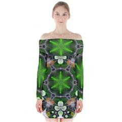 Green Flower In Kaleidoscope Long Sleeve Off Shoulder Dress
