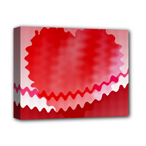 Red Fractal Wavy Heart Deluxe Canvas 14  x 11