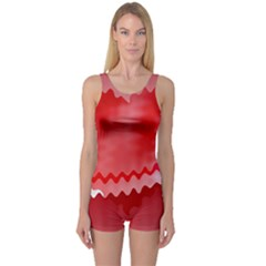 Red Fractal Wavy Heart One Piece Boyleg Swimsuit