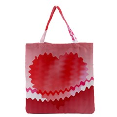 Red Fractal Wavy Heart Grocery Tote Bag