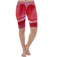 Red Fractal Wavy Heart Cropped Leggings
