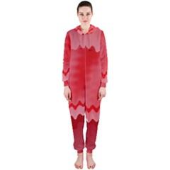 Red Fractal Wavy Heart Hooded Jumpsuit (Ladies)