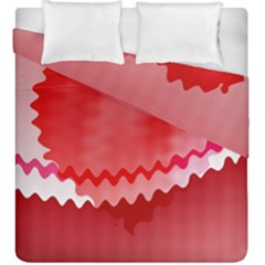 Red Fractal Wavy Heart Duvet Cover Double Side (king Size)