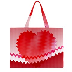 Red Fractal Wavy Heart Zipper Large Tote Bag