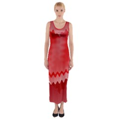 Red Fractal Wavy Heart Fitted Maxi Dress