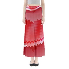 Red Fractal Wavy Heart Maxi Skirts