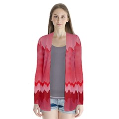 Red Fractal Wavy Heart Cardigans