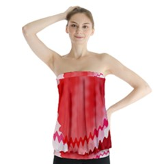 Red Fractal Wavy Heart Strapless Top