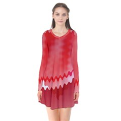 Red Fractal Wavy Heart Flare Dress