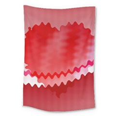 Red Fractal Wavy Heart Large Tapestry