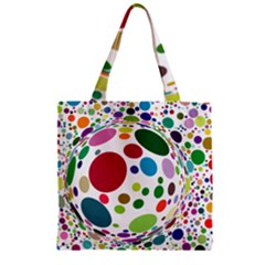 Color Ball Zipper Grocery Tote Bag