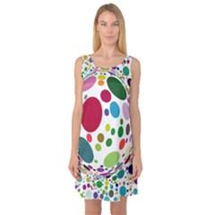 Color Ball Sleeveless Satin Nightdress