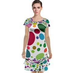 Color Ball Cap Sleeve Nightdress