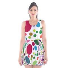 Color Ball Scoop Neck Skater Dress