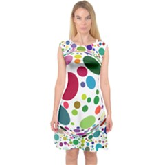 Color Ball Capsleeve Midi Dress