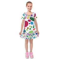 Color Ball Kids  Short Sleeve Velvet Dress