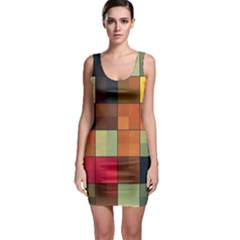 Background With Color Layered Tiling Sleeveless Bodycon Dress