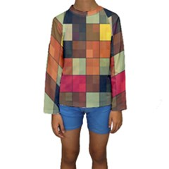 Background With Color Layered Tiling Kids  Long Sleeve Swimwear