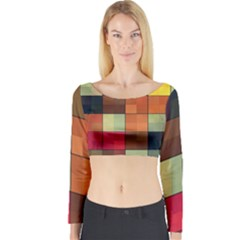 Background With Color Layered Tiling Long Sleeve Crop Top