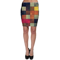 Background With Color Layered Tiling Bodycon Skirt