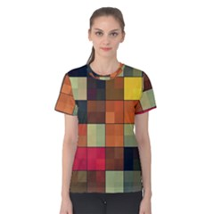 Background With Color Layered Tiling Women s Cotton Tee