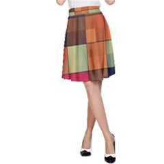 Background With Color Layered Tiling A-Line Skirt