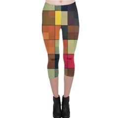 Background With Color Layered Tiling Capri Leggings
