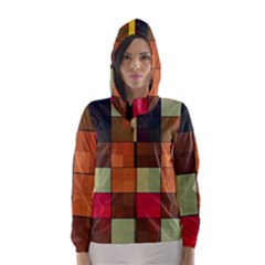 Background With Color Layered Tiling Hooded Wind Breaker (Women)