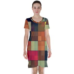 Background With Color Layered Tiling Short Sleeve Nightdress