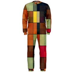 Background With Color Layered Tiling OnePiece Jumpsuit (Men)