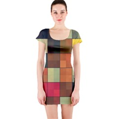 Background With Color Layered Tiling Short Sleeve Bodycon Dress