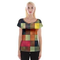 Background With Color Layered Tiling Women s Cap Sleeve Top