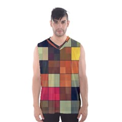 Background With Color Layered Tiling Men s Basketball Tank Top