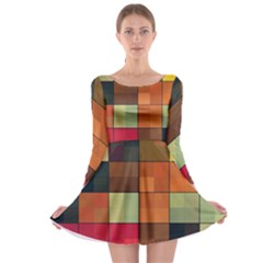 Background With Color Layered Tiling Long Sleeve Skater Dress