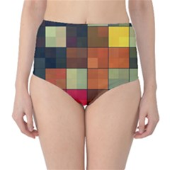 Background With Color Layered Tiling High Waist Bikini Bottoms