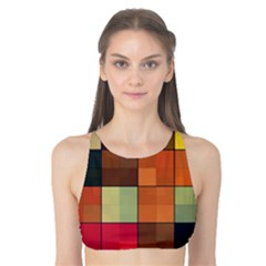 Background With Color Layered Tiling Tank Bikini Top