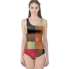Background With Color Layered Tiling One Piece Swimsuit