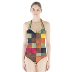 Background With Color Layered Tiling Halter Swimsuit