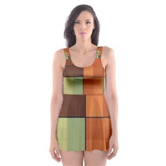 Background With Color Layered Tiling Skater Dress Swimsuit