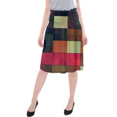 Background With Color Layered Tiling Midi Beach Skirt