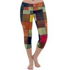 Background With Color Layered Tiling Capri Yoga Leggings